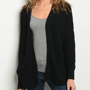 Sweaters - Black Ribbed Knit Cardigan